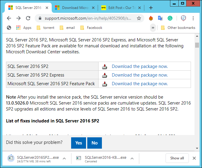 https://support.microsoft.com/en-in/help/4052908/sql-server-2016-service-pack-2-release-information