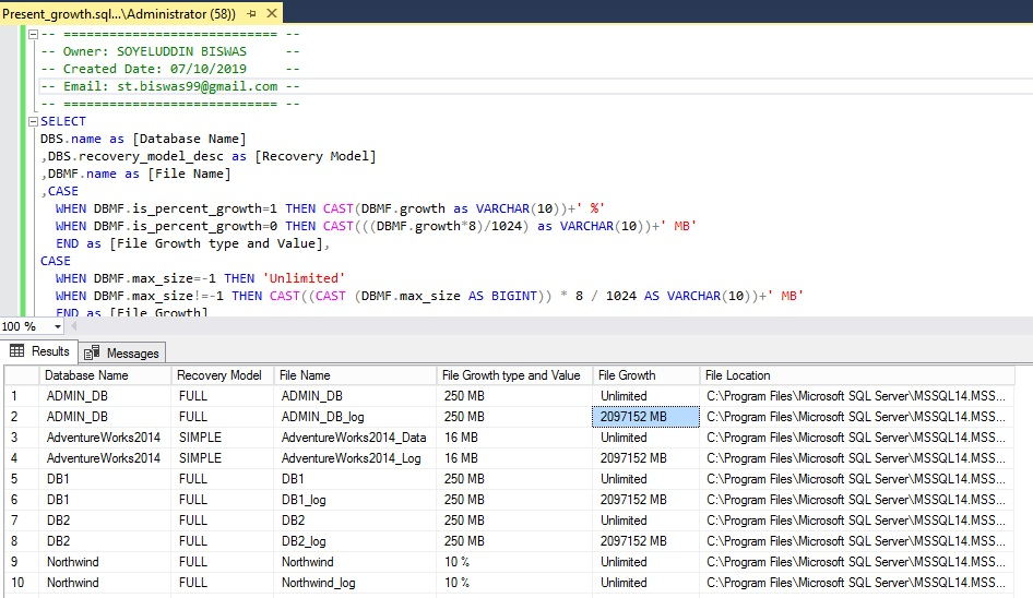 SQL Database File Growth