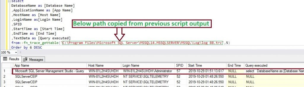 SQL Trace Output